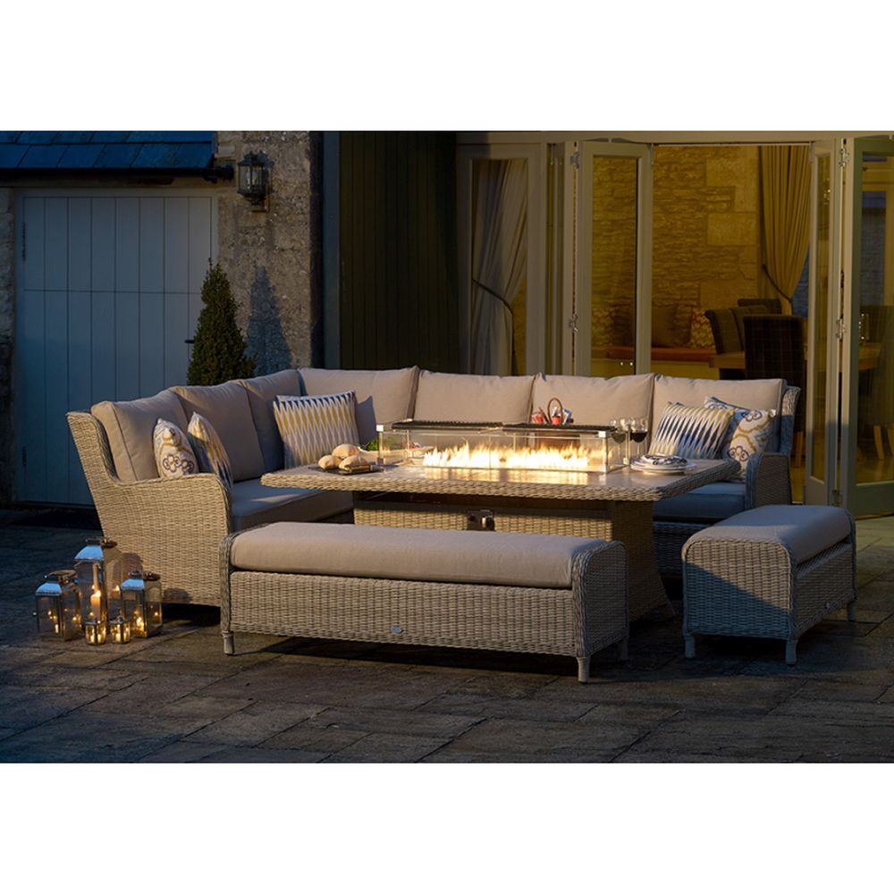 Bramblecrest Chedworth Reclining Modular Sofa, Large Rectangular Firepit Table & 2 Benches - Sandstone