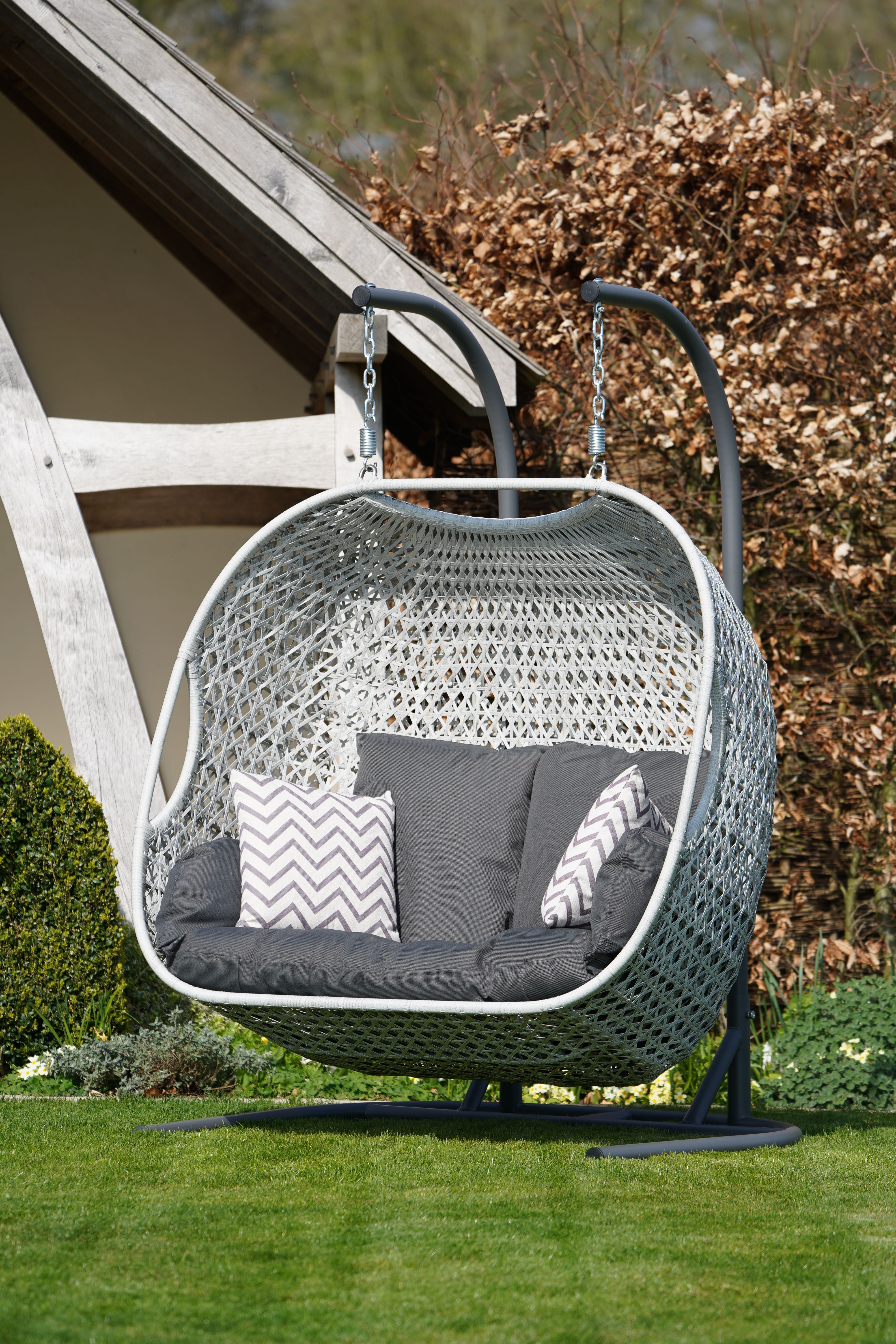Bramblecrest Monterey Double Hanging Cocoon with Season-Proof Cushions - Dove Grey