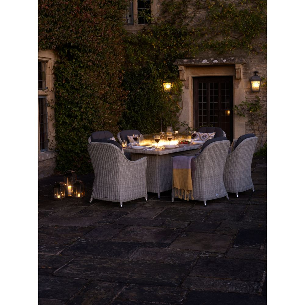 Bramblecrest Monterey 180 x 105 cm Rectangular Dining Firepit Table with Ceramic Top & 6 Armchairs - Dove Grey