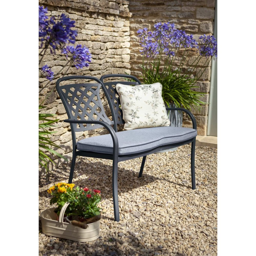 Berkeley 2 Seat Bench with Cushion - Antique Grey
